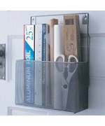 Silver Mesh Mounted Kitchen Wrap Organizer