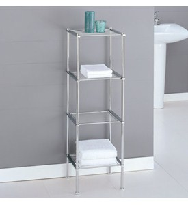 Metro Four-Tier Chrome Bath Shelf Image