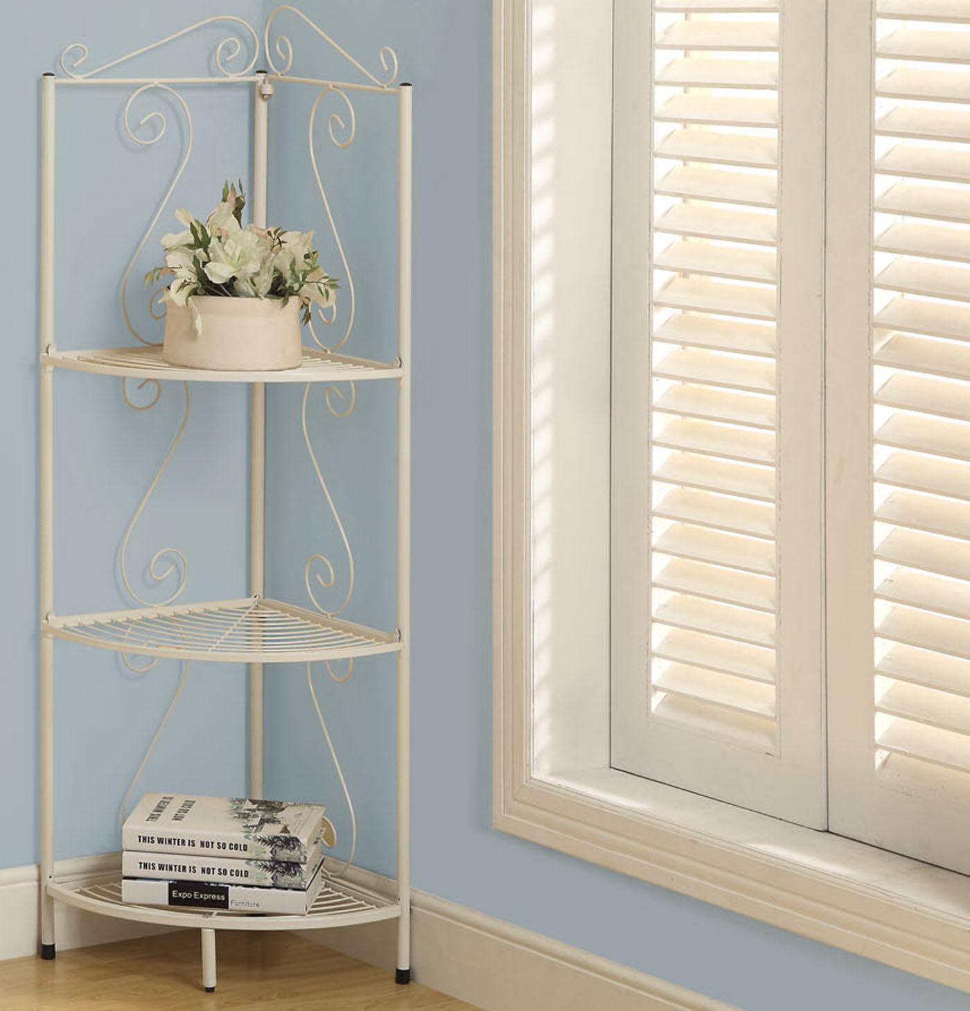 metal 48 inch corner display etagere in bathroom shelves. Black Bedroom Furniture Sets. Home Design Ideas