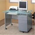 Metal and Tempered Glass Desk with Locking File Drawers
