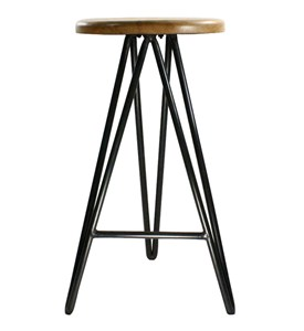 Metal and Wood Bar Stool Image