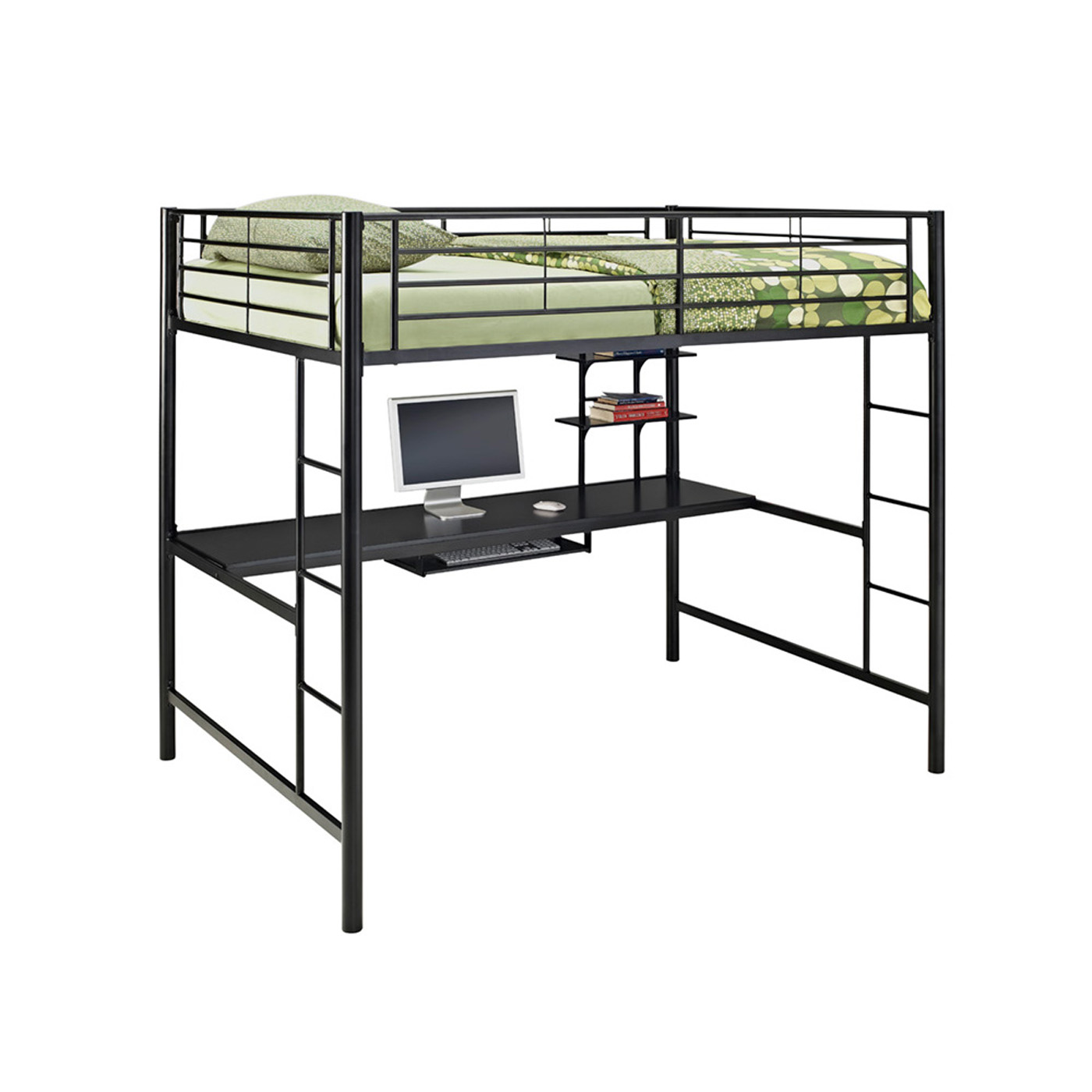 Metal Full Double Loft Bunk Bed With Workstation By Walker