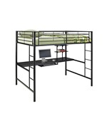 Metal Full Double Loft Bunk Bed with Workstation by Walker Edison