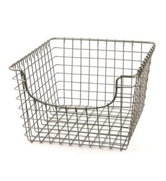 Open shelving for bathroom storage simple yet effective bathroom - Metal Wire Basket Nickel In Wire Baskets
