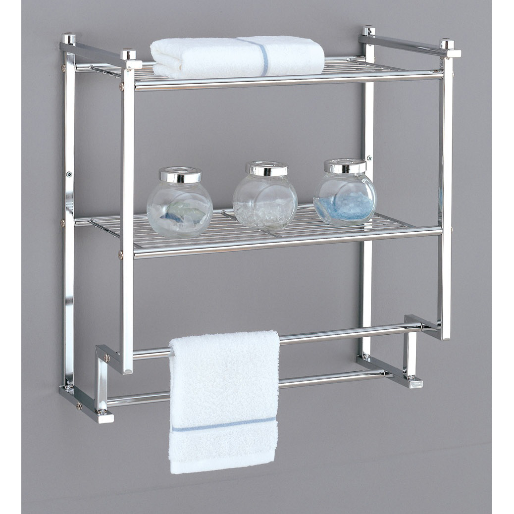 Metro 2 Tier Wall Rack with Towel Bars in Bathroom Shelves