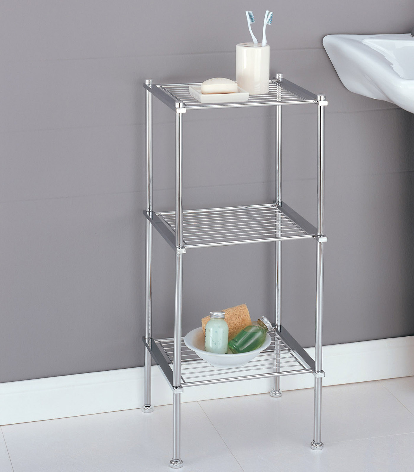 Three Tier Storage Shelf In Bathroom Shelves