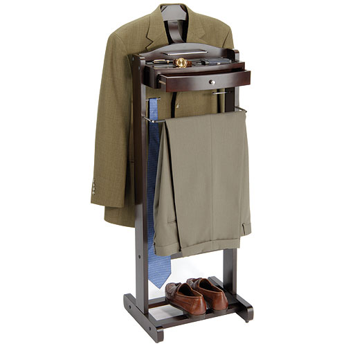 Executive Mens Suit Valet Dark Walnut In Clothing Racks And Wardrobes