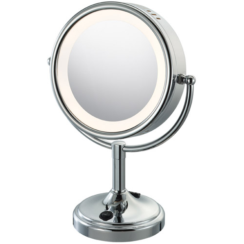 lighted makeup mirror with touch control chrome in vanity mirrors. Black Bedroom Furniture Sets. Home Design Ideas
