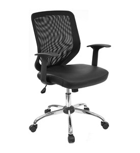 Mid-Back Black Leather and Mesh Office Chair by Flash Furniture, Leather Office Chairs - LF-W95-LEA-BK-GG, Image