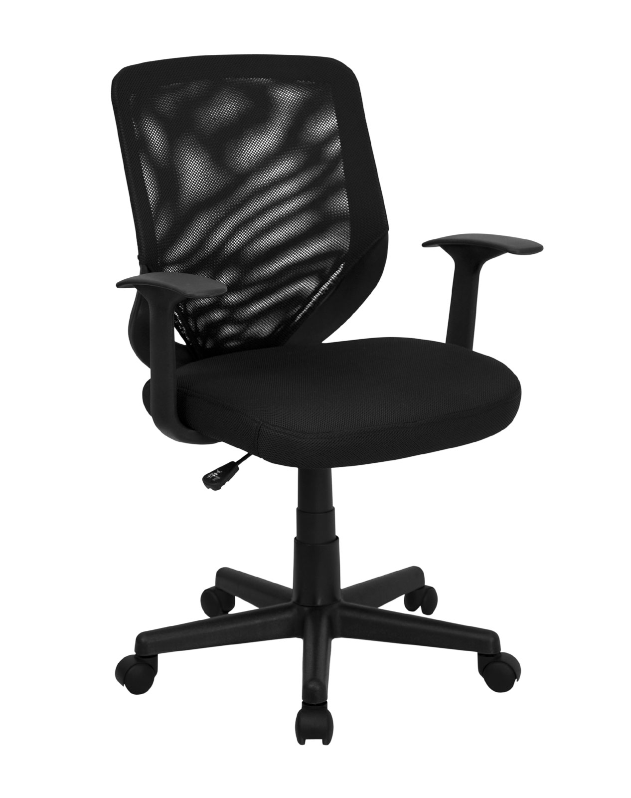 Mid-Back Black Mesh Office Chair with Mesh Fabric Seat by ... Black Office Chair Back View