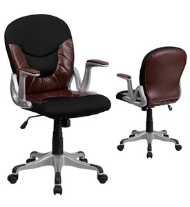 Mid-Back Leather and Mesh Combination Swivel Office Chair by Flash Furniture Image