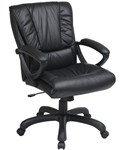 Mid Back Leather Chair with Pillow Top Seat and Back by Office Star