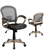 Mid Back Mesh Office Chair with Black Leather Seat by Flash Furniture  Price   121 99Office Chairs and Desk Chairs   Organize It. Flash Furniture Mid Back Office Chair Black Leather. Home Design Ideas
