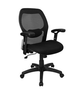 Mid-Back Super Mesh Office Chair with Black Seat and Knee Tilt Control by Flash Furniture, Desk Chairs - LF-W42-GG Image
