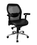 Mid-Back Super Mesh Office Chair with Leather Seat and Knee Tilt Control by Flash Furniture, Desk Chairs - LF-W42-L-GG
