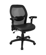 Mid-Back Super Mesh Office Chair with Leather Seat by Flash Furniture, Leather Office Chairs - LF-W42B-L-GG