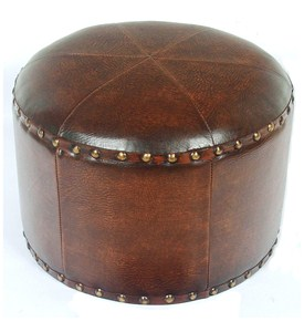 Faux Leather Round Ottoman Image