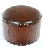 Faux Leather Round Ottoman