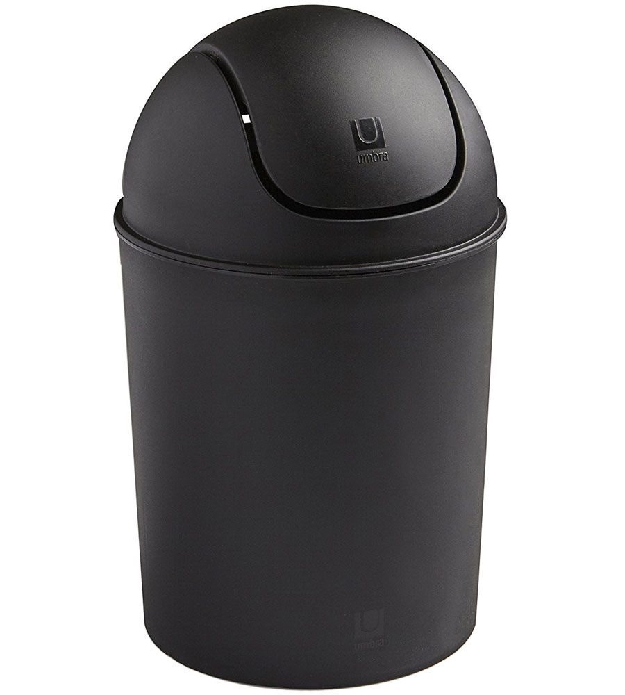 Mini Swing Top Trash Can Black In Small Trash Cans