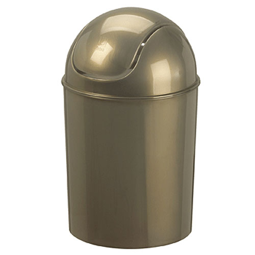 Mini swing top trash can platinum gloss in bathroom for Bathroom garbage can