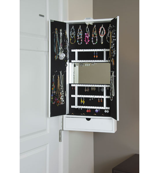 Mirrored jewelry cabinet hinge mounted in jewelry cabinets for Mirror jewelry cabinet