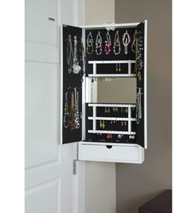 Mirrored Jewelry Cabinet - Hinge Mounted Image