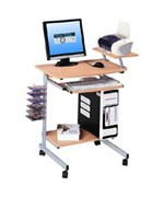 Mobile Computer Desk - Adjustable Shelf