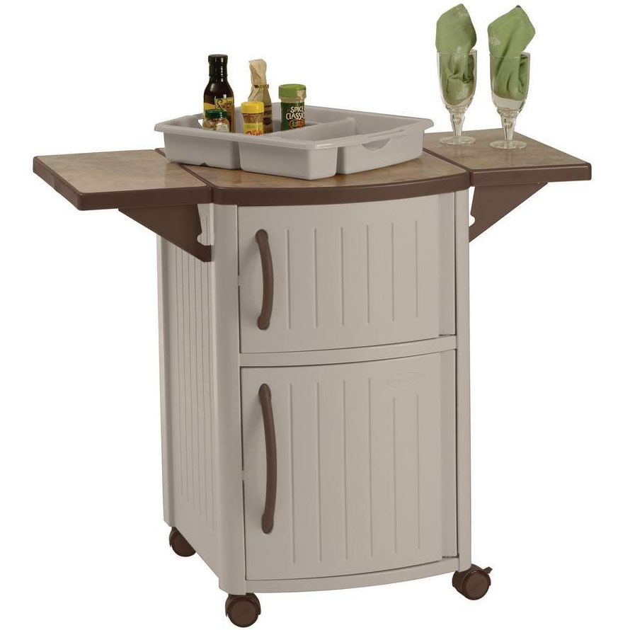 wrought iron side table mobile serving station patio cabinet