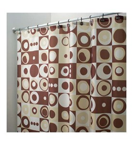 Mod Square Fabric Shower Curtain - Brown Image
