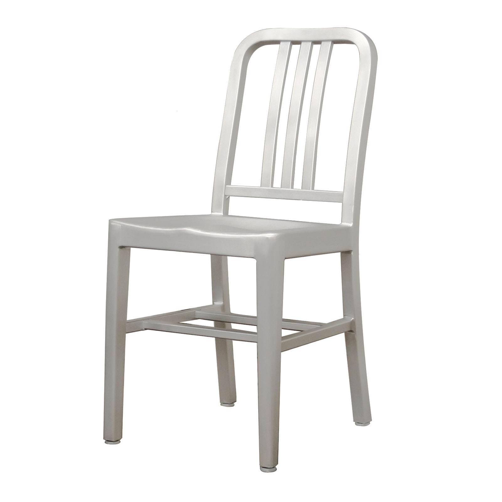 Modern Cafe Chair in Brushed Aluminum Set of 2 by Wholesale