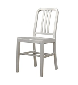 Modern Cafe Chair in Brushed Aluminum - Set of 2 - by Wholesale Interiors - LC-901A Image