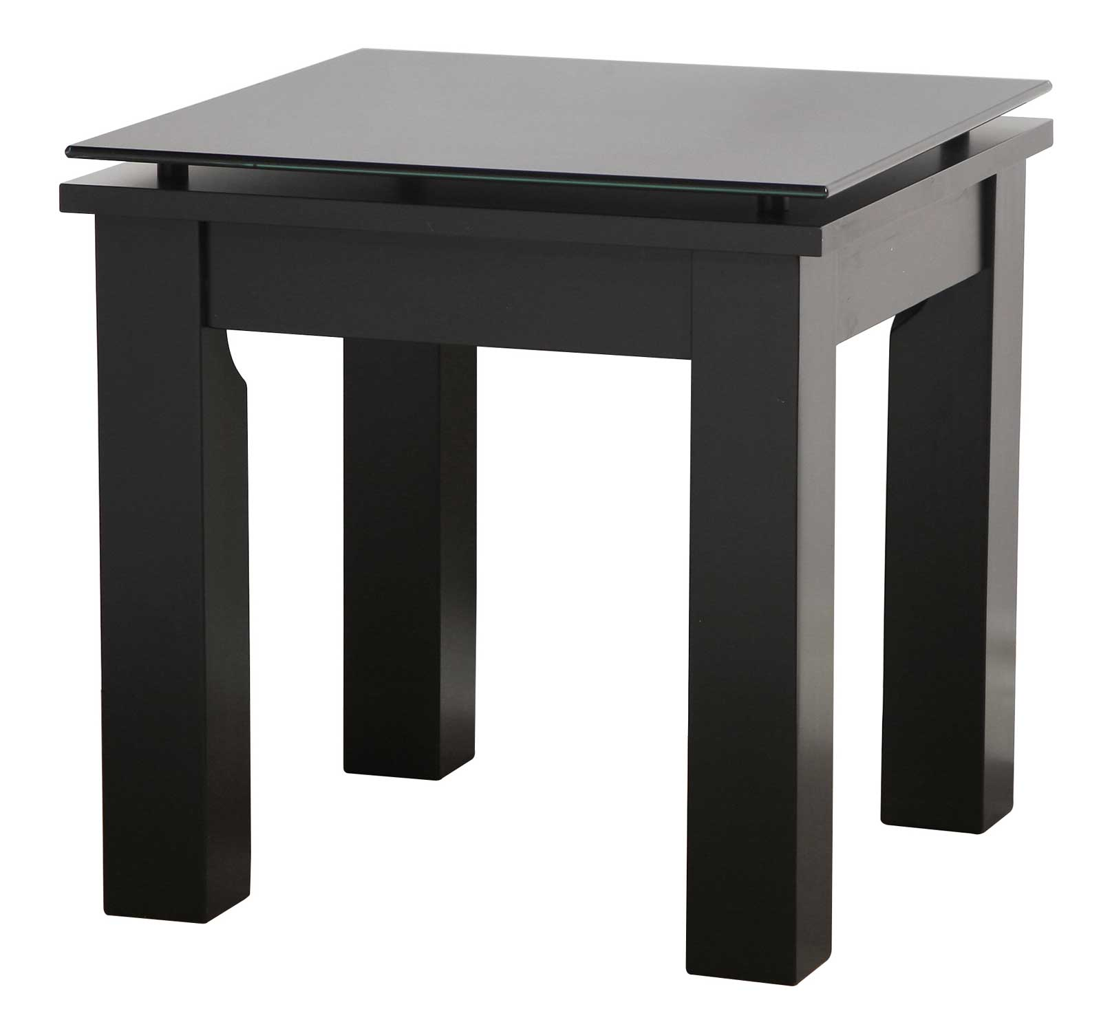 Nice End Table   Antique Black, Modern Glass Top Square End Table ...
