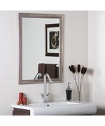 Modern Silvertone Distressed Framed Wall Mirror by Decor Wonderland