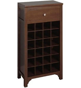 Modular Wine Storage Stand with Drawer - Walnut Image