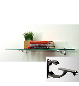 10 Inch Monarch Glass Shelf - Black Image