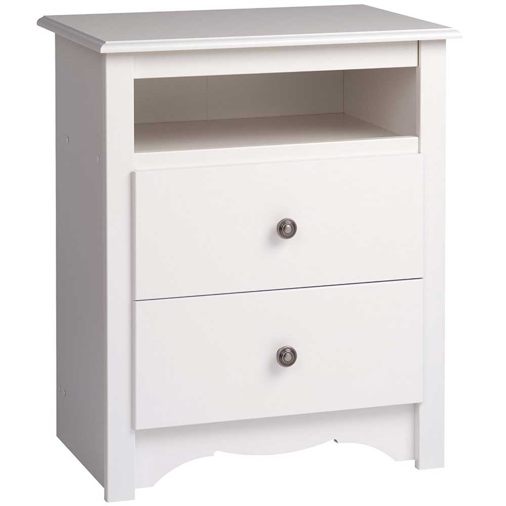 Monterey tall two drawer night stand white in nightstands for Extra tall nightstands