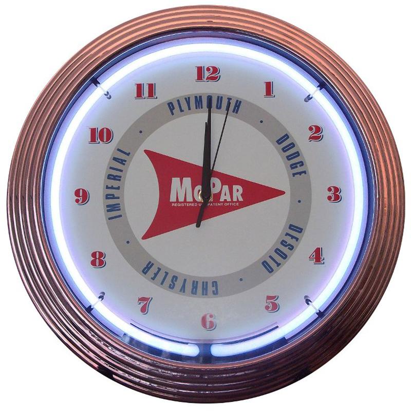 Mopar Arrow Neon Clock by Neonetics in Wall Clocks