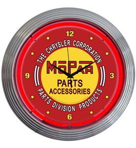 Mopar Red Vintage Clock by Neonetics Image