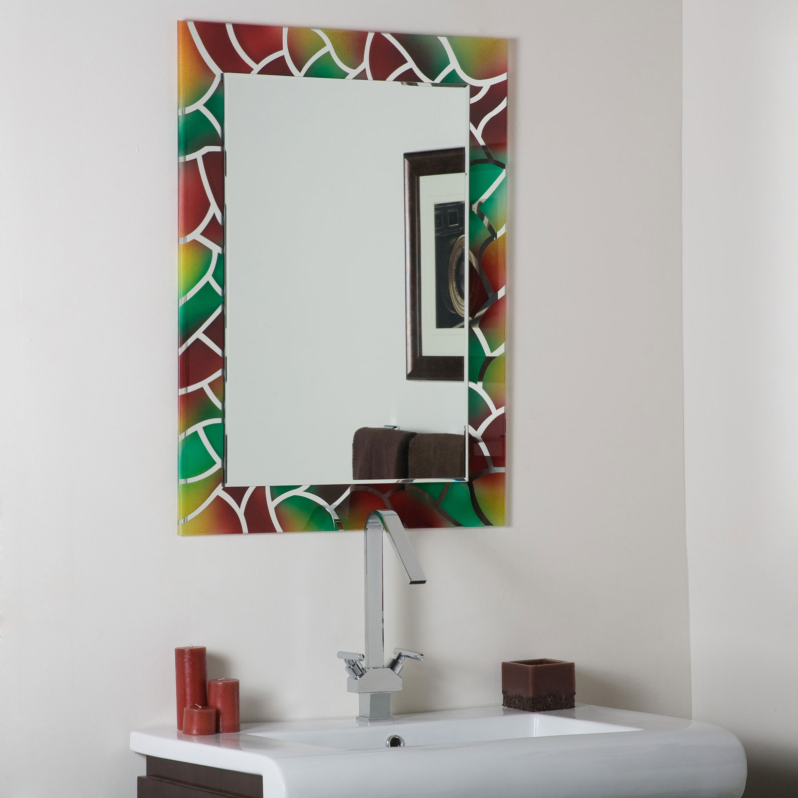 Mosaic Frameless Bathroom Mirror By Decor Wonderland In Frameless Mirrors