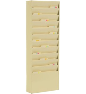 Mounted 11 Pocket Steel Wall File - Tan Image