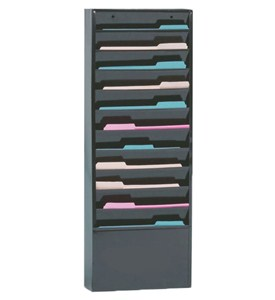 Mounted 11 Pocket Steel Wall File - Gray Image