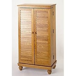 Louvered Doors Wood Multimedia Cabinet Image