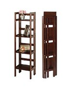 Narrow Folding Bookcase - 4 Shelves by Winsome Trading