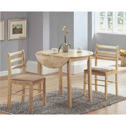NATURAL 3PCS DINING SET WITH A 36 Inch DIA DROP LEAF TABLE BY MONARCH SPECIALTIES Image