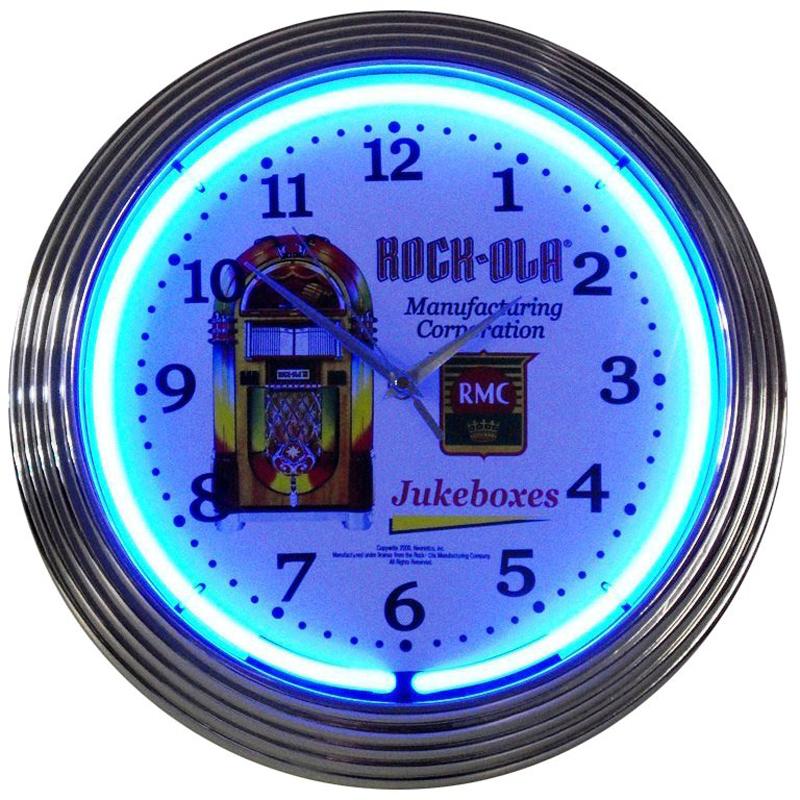 Jukebox Style Neon Clock In Wall Clocks