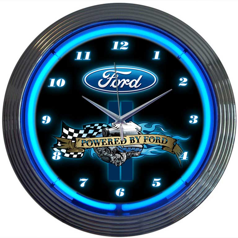 Powered By Ford Neon Wall Clock By Neonetics In Wall Clocks