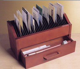 31 day solid wood bill organizer image - Bills Organizer
