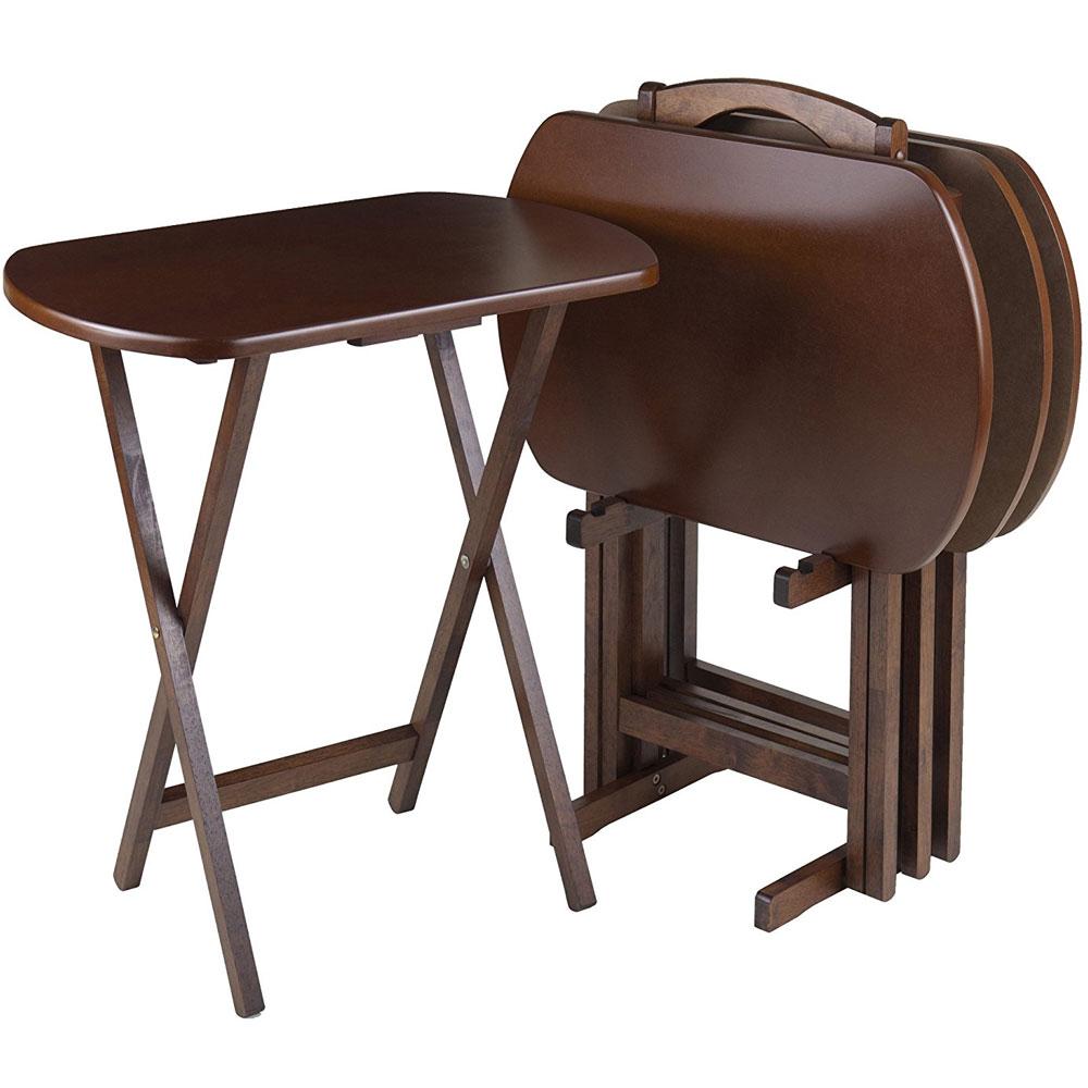 oblong tv tables antique walnut set of 4 in tv tray tables. Black Bedroom Furniture Sets. Home Design Ideas