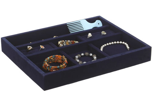 Blue Velvet Jewelry Organizer 15 Inch In Jewelry Trays