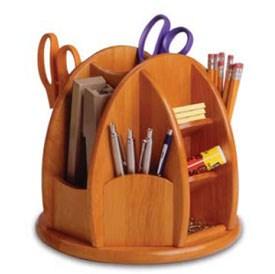 Revolving wooden desk organizer in desktop organizers - Spinning desk organizer ...